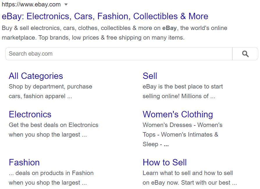 title tags ebay sitelinks